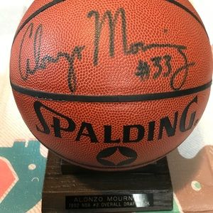 Autographed Alonzo Mourning Basketball and Plaque